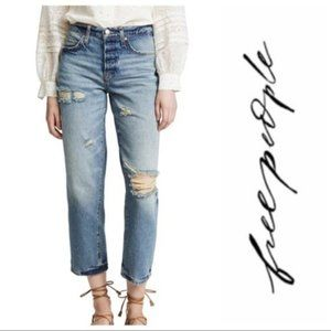 Free People Extreme Washed Boyfriend High Rise
